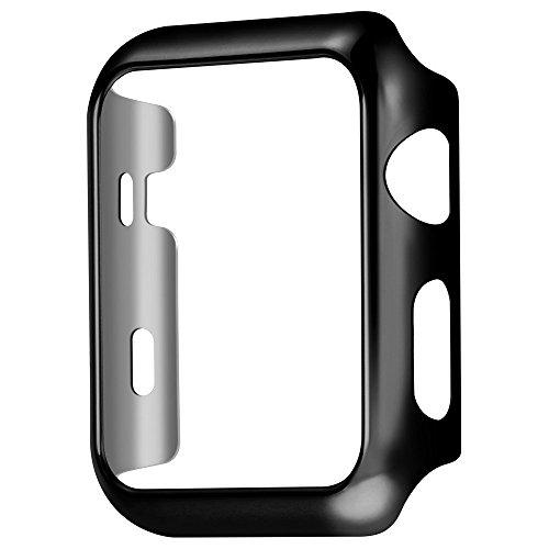 Apple Watch Series 2専用ケース アップルウォッチ2カバー メッキ加工 弧状設計 脱着簡単 HOCO正規代理店品 全4色 (42MM, ブラック)