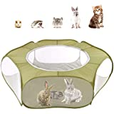 Pawaboo Small Animals Playpen, Breathable Mesh & Waterproof Small Pet Cage Tent with Zippered Cover, Portable Outdoor Yard Fence for Kitten/Puppy/Guinea Pig/Rabbits/Hamster/Chinchillas