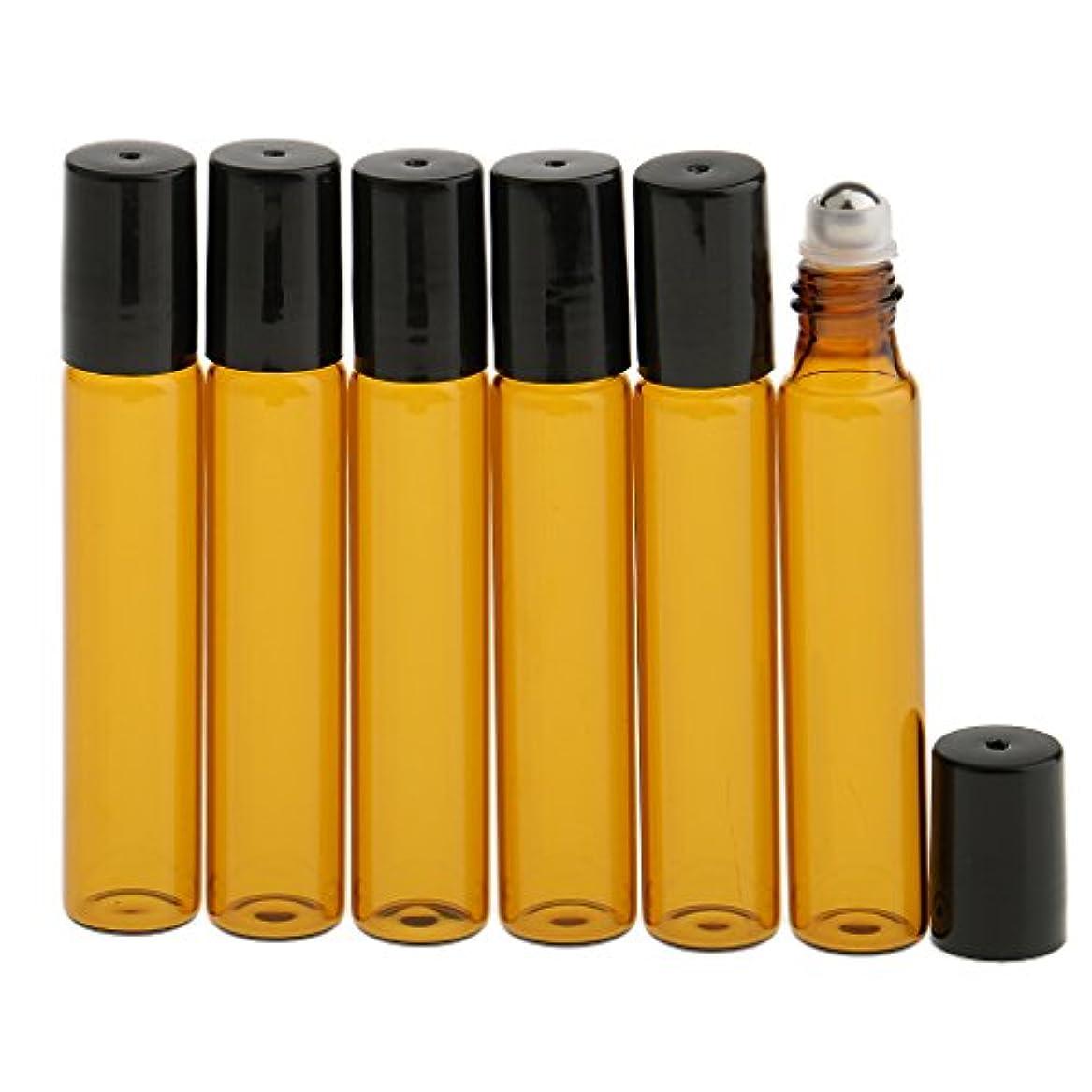 静脈委任する負6本入り シャルオイル 香水分装 光を避けデザイン 10ミリリットル 詰め替え可能 ガラスロール 便利グッズ 便利小物