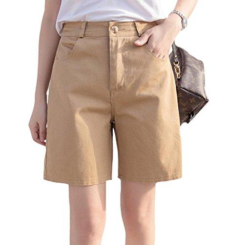 S-XINY ショートパンツ 短パン 綿 無地 夏 カジュアル 大きいサイズ (カーキ, L)