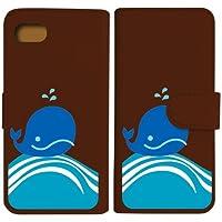 sslink iPhone7 / iPhone8 apple 手帳型 ブラウン ケース くじら クジラ マリン ダイアリータイプ 横開き カード収納 フリップ カバー