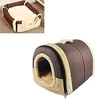 Kismaple 2 in 1 ペットネスト 犬の猫の家の ベッド ケンネル 折り畳み式 家 ソファソフトウォーム スリーピングベッド マットパッド ノンスリップ (M, 褐色)