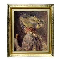 ルノワール 白い帽子の女 F8 油絵直筆仕上げ| 絵画8号 598×524mm 複製画 ゴールド
