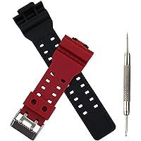 【工具付き】G-SHOCK 用交換バンド バネ棒外し付き 腕時計 ベルト 16mm ウレタン オリジナルバンド レッド ブラック