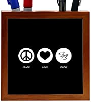Rikki Knight Peace Love Cook Black Color Design 5-Inch Tile Wooden Tile Pen Holder (RK-PH42548) [並行輸入品]