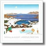 トーマス・マックナイト ミコノス・ルーフトップス【ポスター+フレーム】約 50 x 50 cm ホワイト