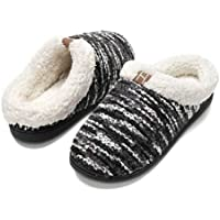 Slippers for Men Wool-Like Plush Fleece Lined Memory Foam Cozy Plush Breathable Indoors Lightweight Non-Skid Machine Washable