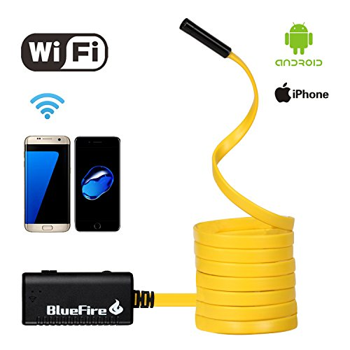 BlueFire WiFi接続可能 エンドスコープ 防水IP66 ボアスコープ 200万画素のスネークカメラ 調節可能なLEDライト6 灯搭載 AndroidiOSシステム iPhone 7/7Plus/6/6s iPads タブレットなどに対応。