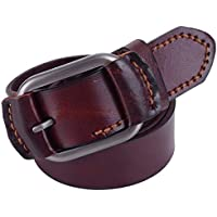 Men's Genuine Leather Belt Fashion Bussiness Belt Square Buckle 4 Size (Color : Wine Red, Size : 125cm)