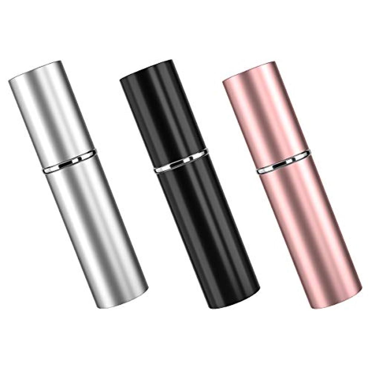 振り向くこんにちはセクションアトマイザ 香水 3色セット 詰め替え容器 スプレーボトル 小分けボトル トラベルボトル 旅行携帯便利 男女兼用 6ml 漏斗付き (ピンク、ブラック、銀)