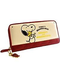 [スヌーピー] SNOOPY 財布 レディース ファスナー 長財布 プリント ウッドストック キルティング カード入れ 小銭入れあり ジャバラ 女性用