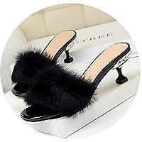 [正午-靴] ファッションエレガントなスリッパスリムラインストーンハイヒールの毛皮のウサギの髪をスリッパ,黒,38