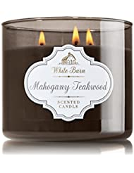 1 X Bath & Body Works White Barn Mahogany Teakwood Scented 3 Wick Candle 14.5 oz./411 g by Bath & Body Works