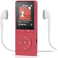 AGPTEK ロスレス音質 超軽量 再生最大70時間 MP3プレーヤー イヤホン&ストラップ付属 内蔵8GB マイクロSDカード対応 A20シリーズ (A20-レッド)
