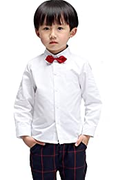 (モリハニ) Moli&Hani 子供 ワイシャツ シャツ チェック 柄 Yシャツ キッズ 結婚式 発表会 男の子 卒業式 入学式 90 100 110 120 130 140 リボン付き