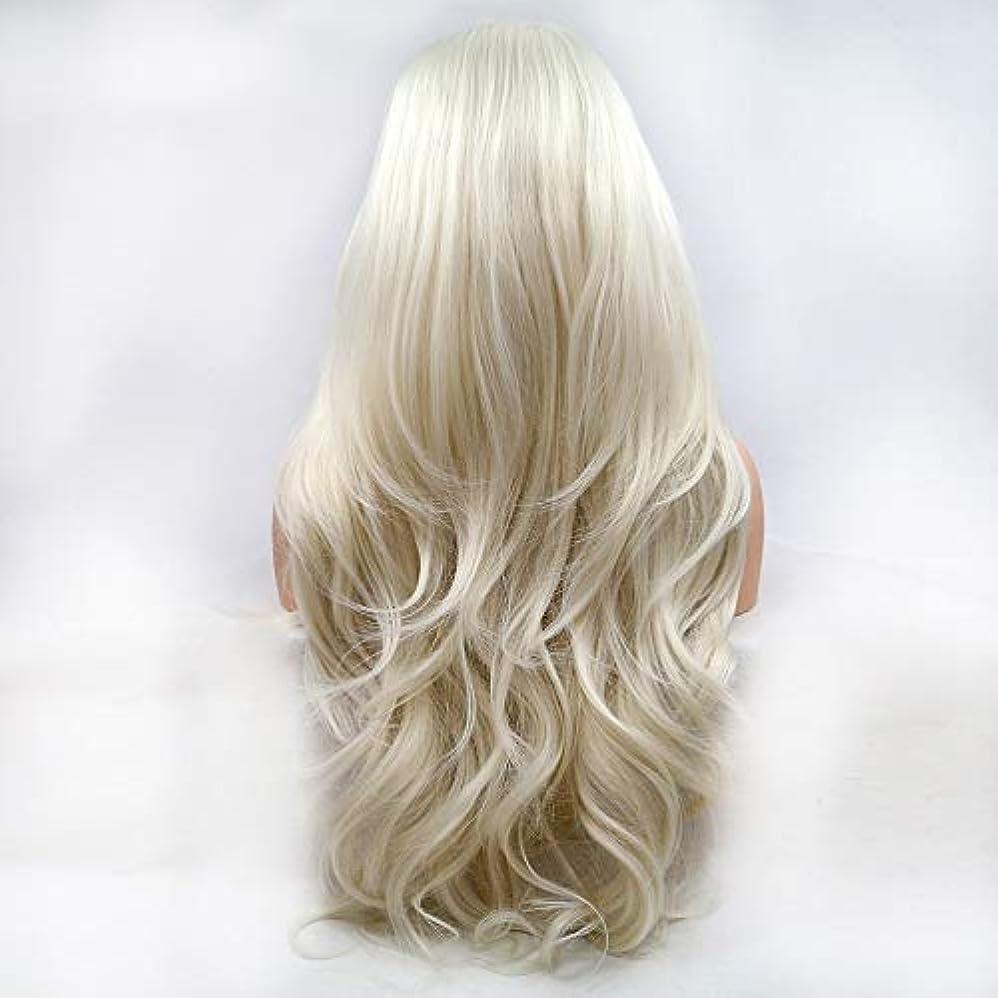 工夫するナラーバー優越ヘアピース ベージュの長い髪の巻き毛の手作りレースヨーロッパとアメリカの自然な髪のかつらセット
