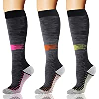 YOLIX Compression Socks Women & Men - 1/3/7 Pairs Graduated Compression Stockings(20-30mmHg) Best for Cycling, Running, Travel, Pregnancy, Flight