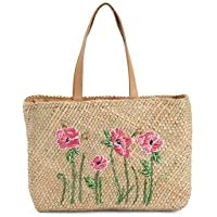 La Sera by Franchise Woven Straw tote with floral embroidery and snap closure