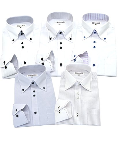 BS-shirt(ビジネスマンサポートシャツ) 長袖ワイシャツ5枚セット 豊富な7サイズ ba 044-LL