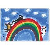 猫の足あと ポストカード 「虹のすべり台」