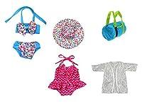 人形Bathing Suit Set 5Piece for 13–18インチ人形Clothes