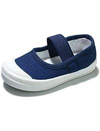[キュミオ] 子供 キッズ 靴 上履き 女の子 男の子 上靴 スニーカー 外履き 内履き 通学靴 無地 通気 キャンバス スリッポン 幼児園 保育園 可愛い