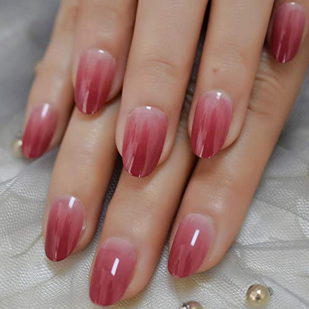 韓国語残基コストXUTXZKA 人工爪なめらかな爪オーバルミディアムカラーチップ24pcs