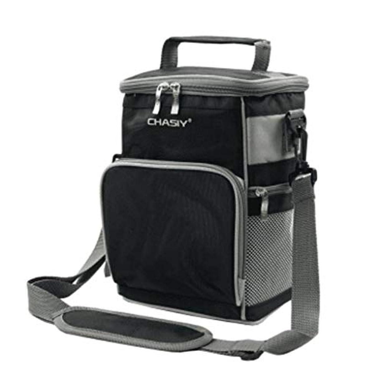 気まぐれな遠い例外冷却パッケージオックスフォード布手持ち米大断熱バレルバッグアルミ箔防水ランチバッグ (Color : Black)
