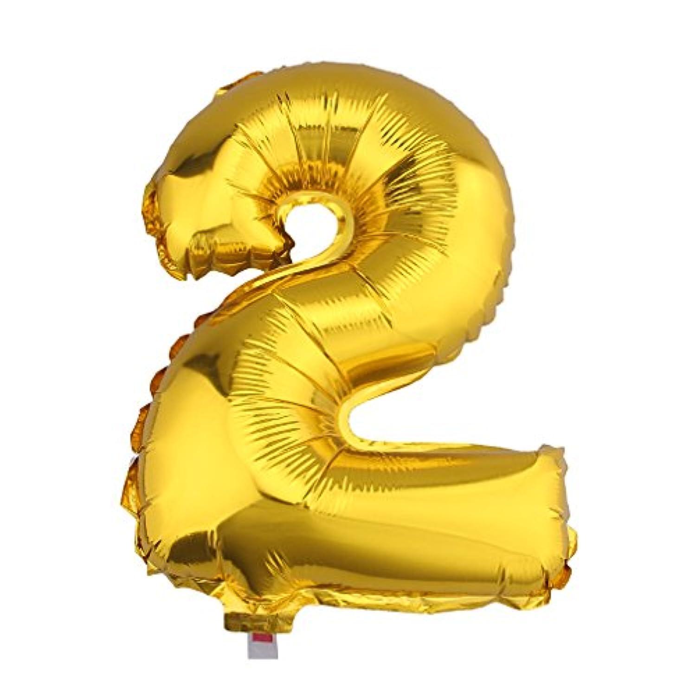 (ビウインキー) Biwinky 数字バルーン アルミバルーン アルミ風船 ナンバー 飾り イベント パーティー アニバーサリー 結婚式 スポーツ お祝い装飾 ゴールド 16インチ 2