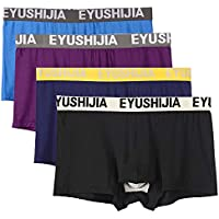 EYUSHIJIA Men's 4 Pack Underwear Bamboo Fiber Separate Pouches Boxer Briefs with Fly