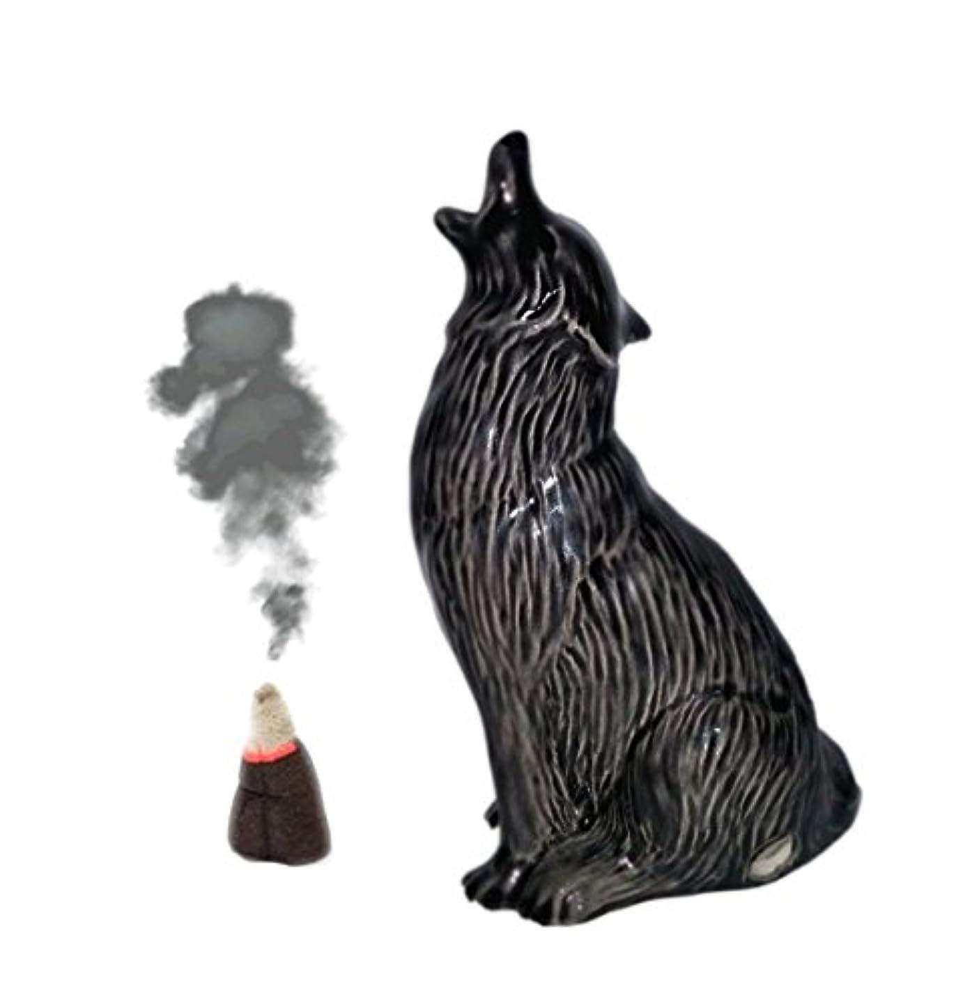 ライトニング広告主ぬいぐるみHowling Wolf Cone Incense Burner S ブラック