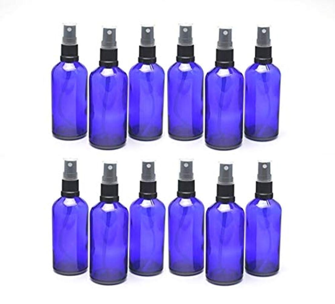 理容室認識ホールドオール遮光瓶 スプレーボトル 100ml / コバルトブルー ?ブラックヘッド (グラス/アトマイザー) 【新品アウトレット商品 】 (4) 12本セット)