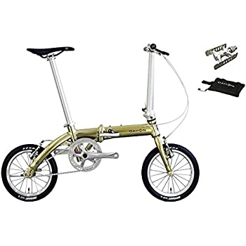 2018年モデル DAHON(ダホン) DOVE PLUS(ダヴ プラス) 14インチ 折り畳み自転車 プレミアムゴールド +スリップバッグミニ、プロムナードEZY(着脱ペダル)