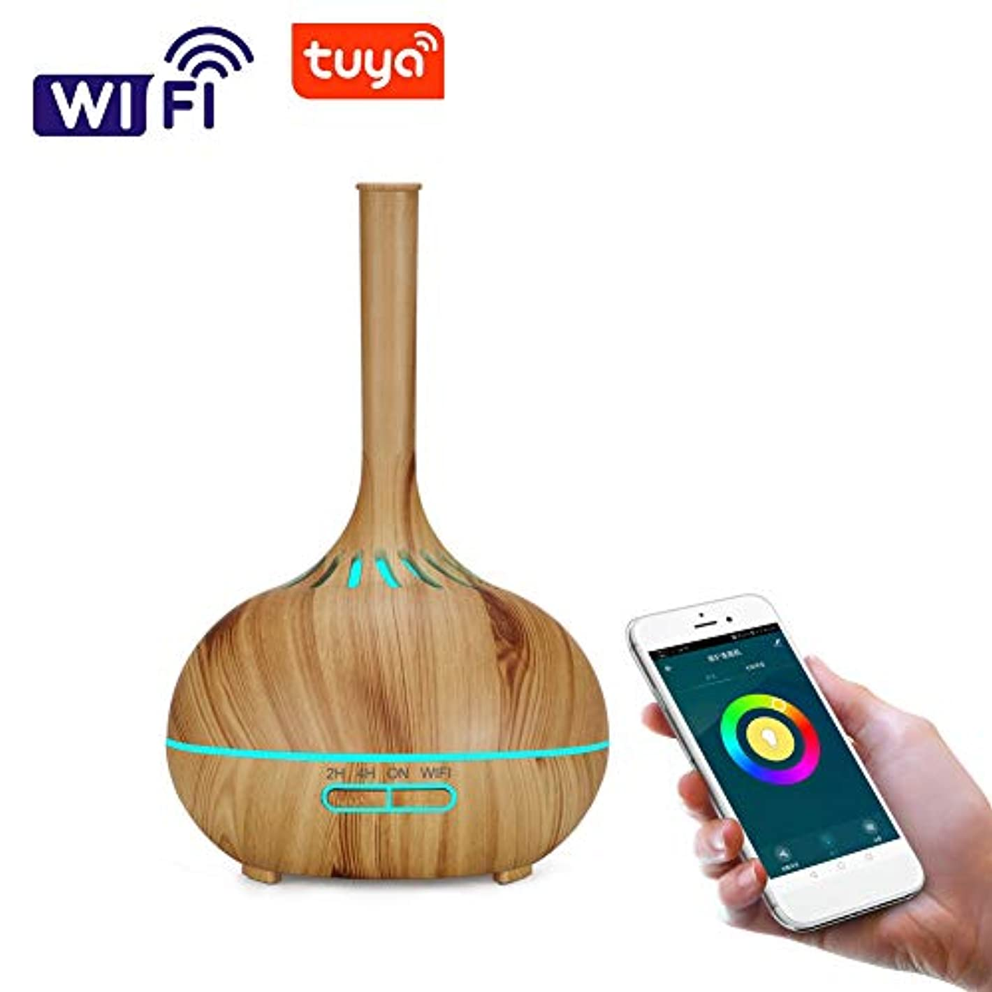 カウント高架マラドロイト木目 涼しい霧 超音波式 加湿器,wifi 7 色 香り 精油 ディフューザー 調整可能 空気加湿器 アロマネブライザー ホーム Yoga オフィス- 400ml