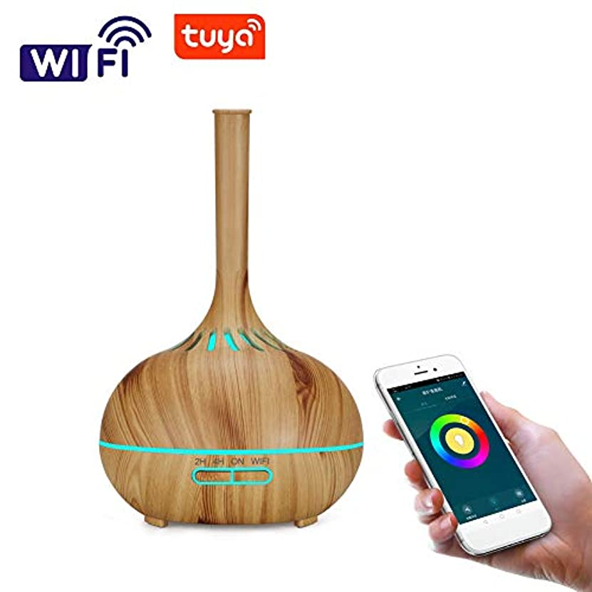 癒す木反論者木目 涼しい霧 超音波式 加湿器,wifi 7 色 香り 精油 ディフューザー 調整可能 空気加湿器 アロマネブライザー ホーム Yoga オフィス- 400ml