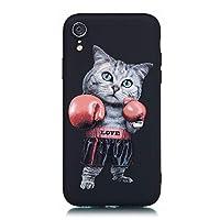 「Hello*Enjoy専門店」apple iphoneXR 6.1インチ ケース 人気カバー レザー スマホケースアップル アイフォンXR 全面保護 耐衝撃 ファッション高級レザー テコンドー 猫 カッコイイ 面白い ブラック 黒 シリコン ソフトケース