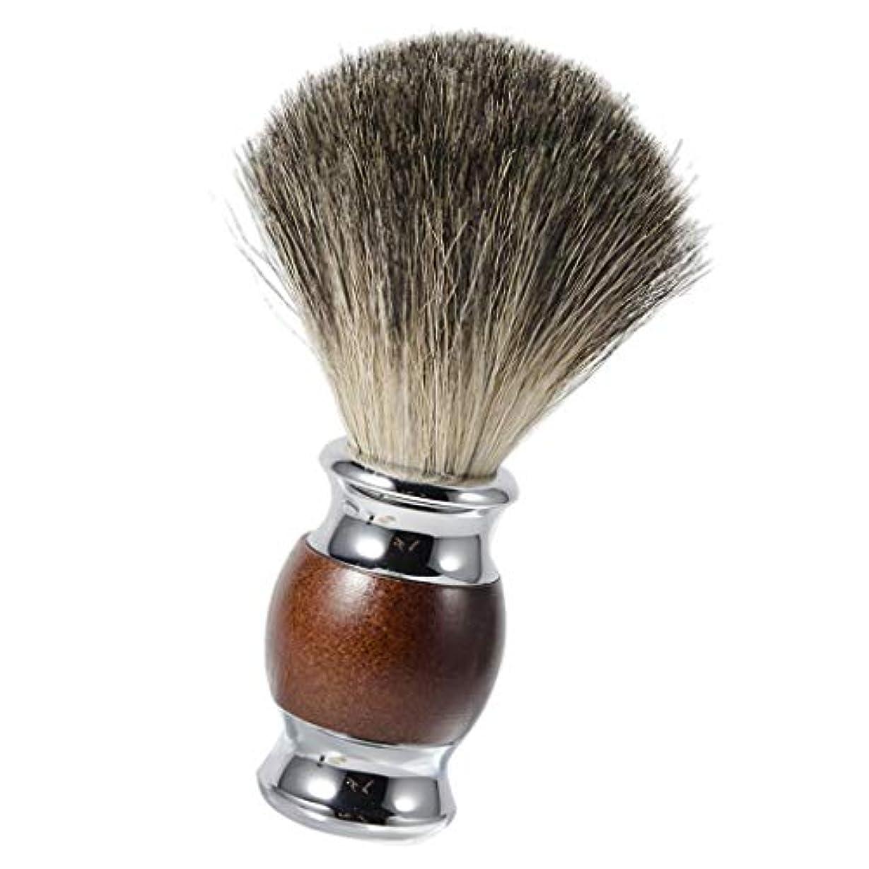 買い手荒廃するシャックルひげブラシ シェービングブラシ 木製ハンドル 理容 洗顔 髭剃り 泡立ち メンズ用 友人にプレゼント