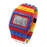 【 ユニセックス 】8 色 レゴ 風 デジタル 腕 時計 可愛い 人気 カラフル ウォッチ ブロック (カラーVer2)