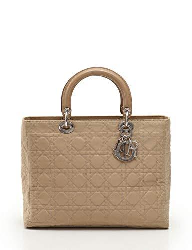 (クリスチャンディオール) Christian Dior レディディオール カナージュ ハンドバッグ ナイロン レザー ベージュ 中古