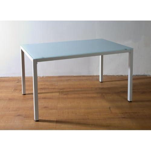 8mm厚強化ガラス オフィスデスク ミーティングテーブル 120x75cm ホワイト(白)