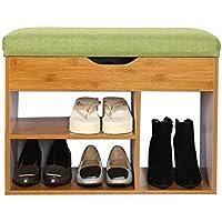 靴スツールダブルフリップ靴スツール靴靴靴スツール収納スツール靴スツールビッグフラワーシダー(靴ラックのみ含む) (色 : Bamboo color, サイズ さいず : 30cm*60cm*45cm)