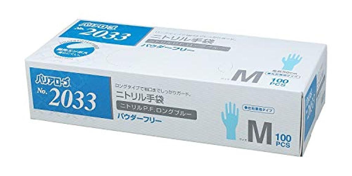 考える気味の悪いリーク【ケース販売】 バリアローブ №2033 ニトリルP.F.ロング ブルー (パウダーフリー) M 1200枚(100枚×12箱)