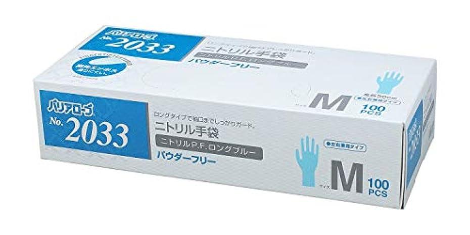【ケース販売】 バリアローブ №2033 ニトリルP.F.ロング ブルー (パウダーフリー) M 1200枚(100枚×12箱)
