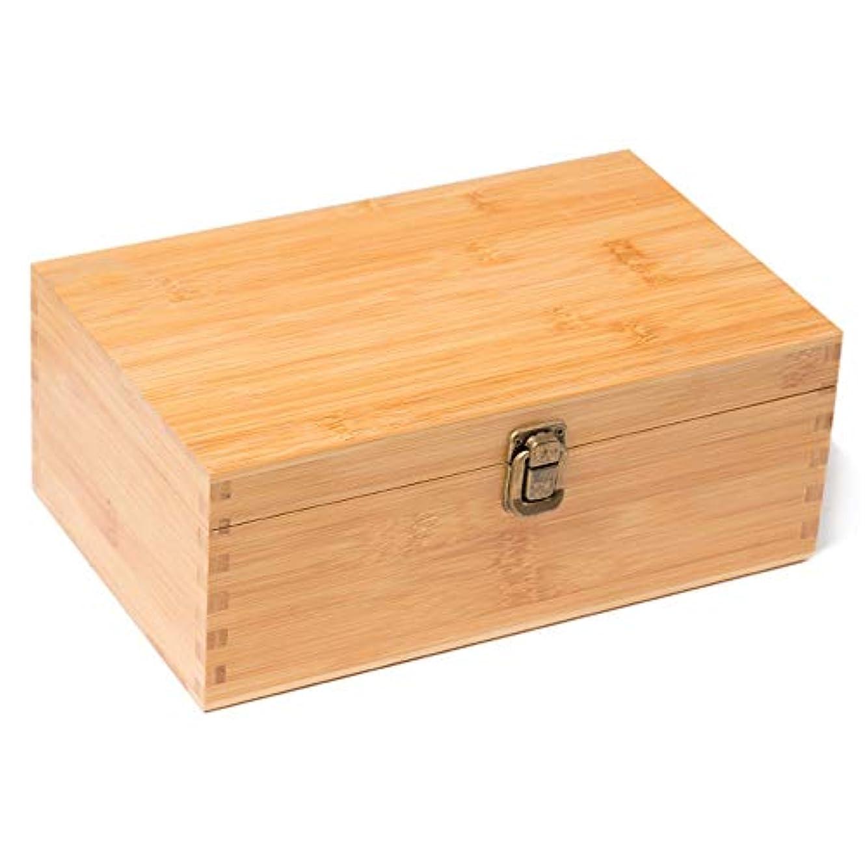 噴水マイクロフォン復活手作りの木製エッセンシャルオイルストレージボックスオーガナイザーは、油のボトルを保持します アロマセラピー製品 (色 : Natural, サイズ : 26.5X16.5X10.5CM)