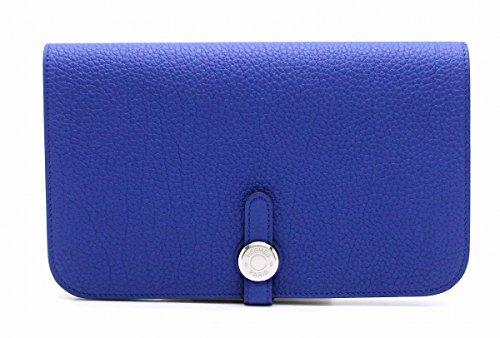 [エルメス] HERMES ドゴンGM 2つ折 長財布 レザー トゴ ブルーサフィール 青 シルバー金具 T刻印