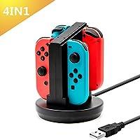 Joy-con 充電 スタンド Nintendo switch 専用 4in1 急速充電器 USB ケーブル 内蔵 LEDランプ付き ジョイコン 急速充電 スタンド