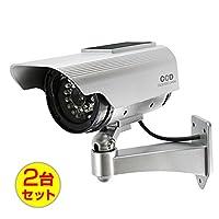 (お得な2台セット)ダミーカメラ 防犯カメラ ソーラーパネル バッテリー 防雨タイプ (OS-163R)シルバー