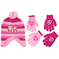 Nickelodeon Little Girls Paw Patrol Character Hat and 2 Pair Mittens or Gloves Cold Weather Set, Age 2-7 (Little Girls Age 4-7 Hat & 2 Pair Gloves Set, Light Pink/Dark Pink)