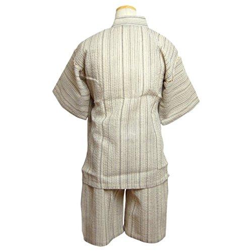 甚平 子供 キッズ ジュニア 男の子 しじら織り 柄 じんべい スーツ上下 祭 子供甚平 白 150cm