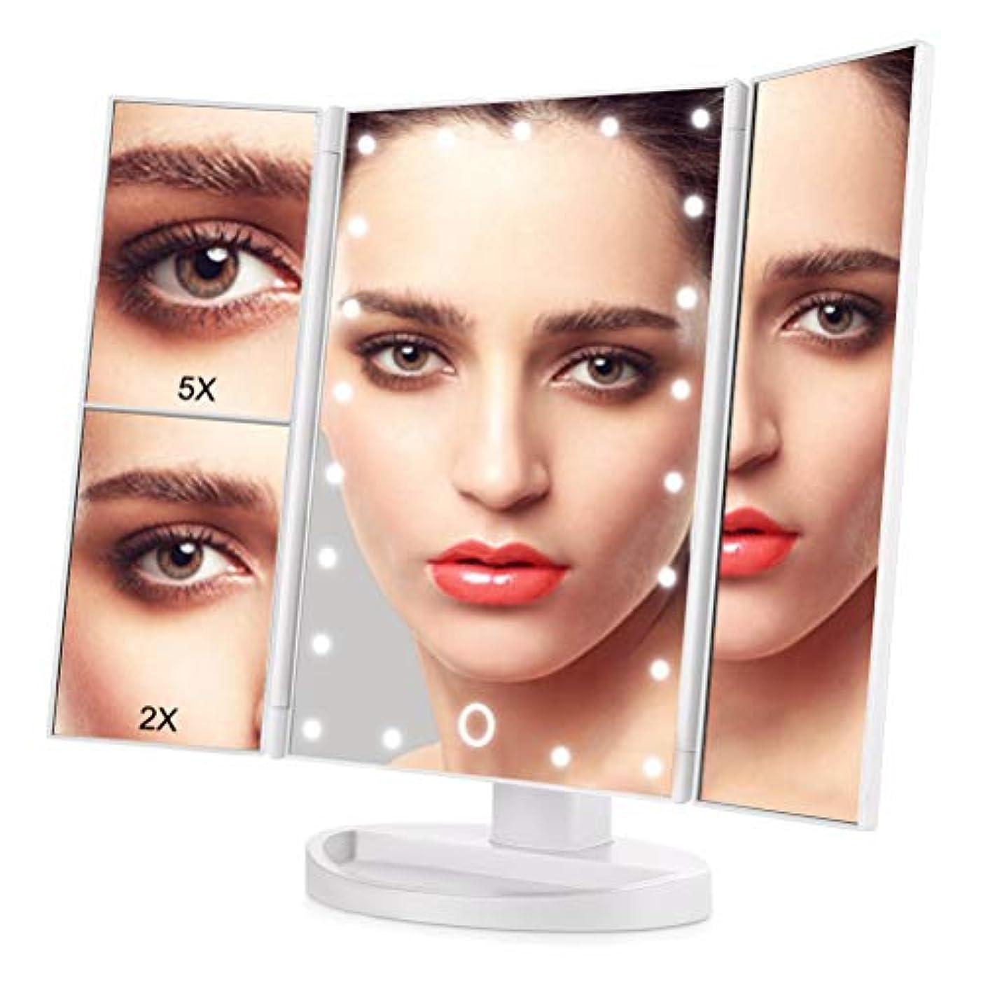 タヒチまともな大胆なOKISS 三面鏡 化粧鏡 卓上 ミラー 鏡 ledライト 化粧ミラー メイクアップミラー 2倍と5倍拡大鏡付き 明るさ調節可能 折り畳み式 180°回転 USB/単4電池給電